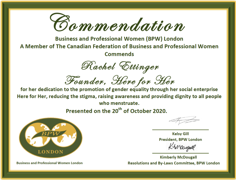 BPW London 2020 Rachel Ettinger Commendation